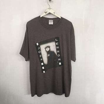 John Lennon shirt vintage t shirt band t-shirts The Beatles rock tshirt rock n roll 90s vintage clothing soft tee grey t-shirt xl
