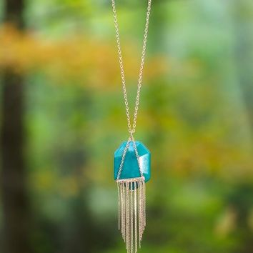 Turn Down Necklace-Teal