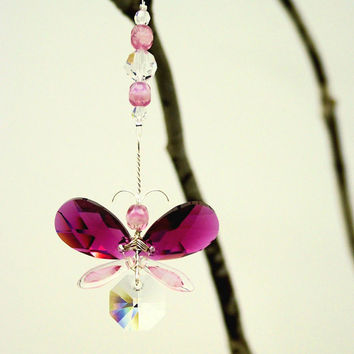 Swarovski Crystal Suncatcher Garland Car Charm Accessory Baby Mobile Pink Butterfly Rear View Mirror Charm Guardian Angel Valentine Gift