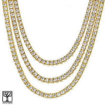 "Jewelry Kay style CZ Stoned Triple Gold Plated Short Tennis Chain Necklace SET 16"" / 20"" / 22"""