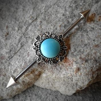Turquoise Tribal Industrial Barbell Body Jewelry 14ga Surgical Steel Spike Ends