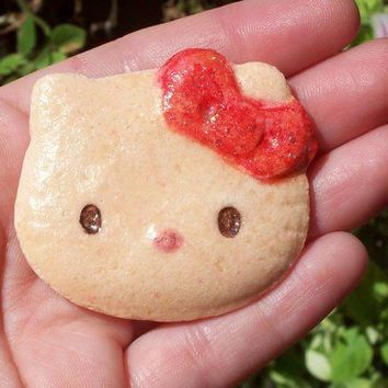 Handmade Dough Darling Kitty Face Red Bow Cabochon Cookie 45mm