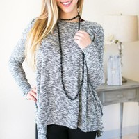 Party In The Bow Back Grey Sweater