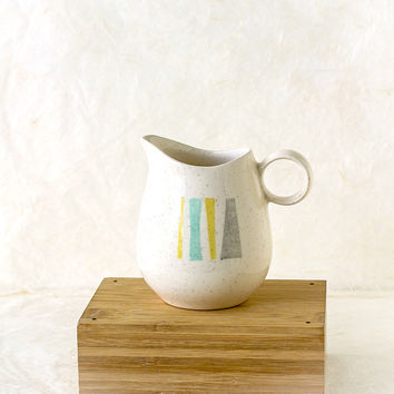 Vintage Vernonware Pitcher Anytime Pattern Creamer Mid Century Atomic, Turquoise, Yellow, Gray