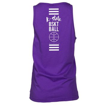 Official NCAA Kansas State University Wildcats KSU K-State	Women's Boyfriend Fit Tonal Pocket Sleeveless Durable Soft O-Neck  Premium Tank Top