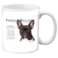 "French Bulldog ""White & Brindle"" 11 oz. Coffee Mug-Tranier"