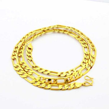 24K GP Gold Plated Necklace Mens Women Yellow Gold Golden Jewelry Necklace YHDN 61 MP