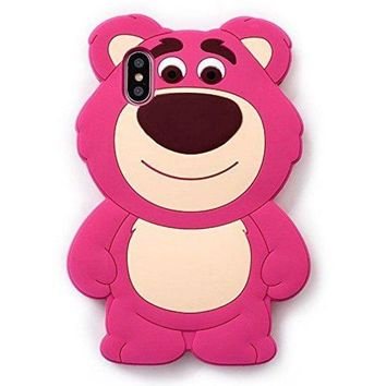 Pink Strawberry Bear Soft Silicone Rubberized 3d Cartoon Case For Iphone X Iphonex 10 Cute Lovely High Fashion Fun Cool Lovely Special Gift For Teens Little Girls Women Kids (lotso Huggin Bear)