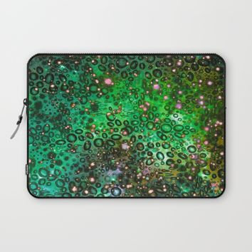 RAINBOW DOTTY OCEAN 3 Green Lime Ombre Space Galaxy Colorful Polka Dot Bubbles Abstract Painting Art Laptop Sleeve by EbiEmporium