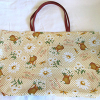 Sale - Tote, Market or Shopping Bag, Large Lined Reusable and Reversible - Daisies and Dragonflies