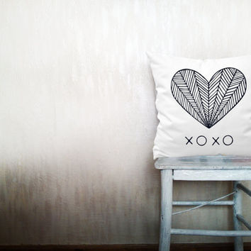 Heart pillow decorative throw pillow love pillow cover white cotton toss xoxo pillow case rustic wedding bedroom set 18x18 inches