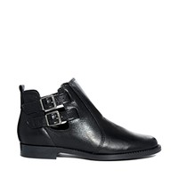 Oasis Black Leather Cut Out Ankle Boots