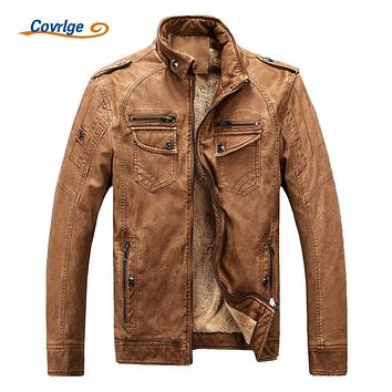 Covrlge Male Leather Jacket Fashion Mens Motorcycle Jacket Winter Men's Coat Casual Overcoat Faux Leather Suede MWP003