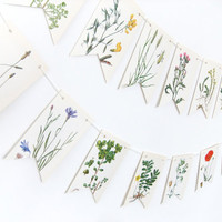 Botanical Bunting - Spring Decoration - Recycled Garland - eco-friendly banner -  floral bunting - wedding decor