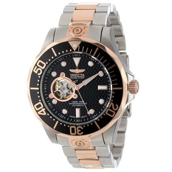 Invicta 13708 Men's Grand Diver Black Dial Two Tone Rose Gold Plated Steel Bracelet Automatic Dive Watch