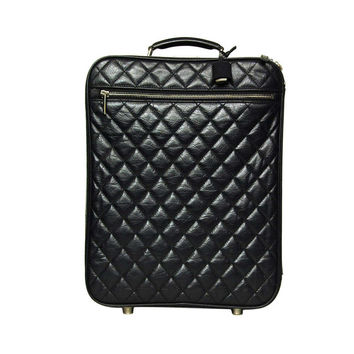 Chanel 2007 Black Distressed Quilted Leather Rolling Suitcase Luggage Bag