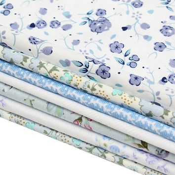 New 7 Blue Assorted Cut Charm 25 CM Squares Thin Quilt Cotton Fabric DIY Making