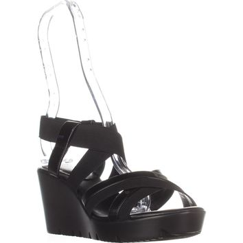 Charles by Charles David Vote Wedge Sandals, Black, 7 US