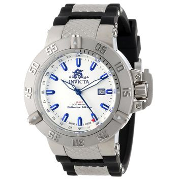 Invicta 13920 Men's Subaqua Noma III Collector Edition Silver Dial Black Rubber Strap GMT Dive Watch