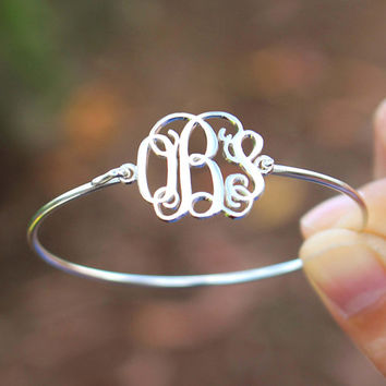 Monogram Bangles - Name Bracelet - Custom Name Monogram - Silver Jewelry - Gift Items - Name Jewelry