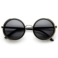 Vintage Steampunk Studio Cover Round Metal Sunglasses 8976