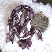 Blanket Scarf and CC Beanie Gift Set