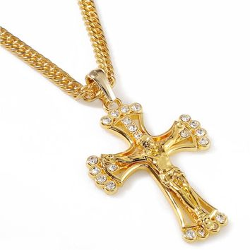 JHNBY High Quality Jesus cross pendant necklace for man Fashion Gold-Color Long Chain men jewelry bijouterie 2017