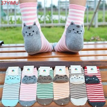 1Pair 3D Animals Striped Cartoon Socks Women Cat Footprints Cotton Socks Floor Harajuku Lovely Art Socks Animal Socks