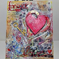 Forever Love Mixed Media Canvas Board. Ready to Ship