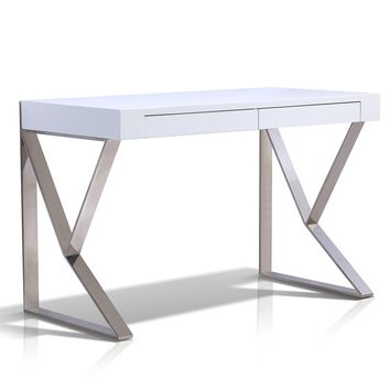 Casabianca Home YORK TC-0098-WH Office Desk High Gloss White Lacquer