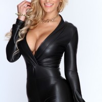Black Faux Leather Plunge Neckline Long Sleeves Sexy Romper
