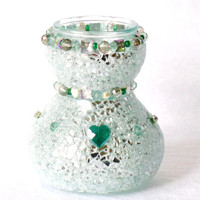 Wedding Gift, glam Vase, silver, emerald, with mosaic glass, pearls, jewelry, home decor