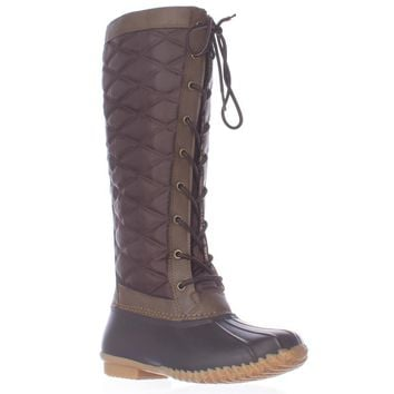 JBU by Jambu Etna Lace Up Tall Quilted Rain Boots, Brown, 10 US