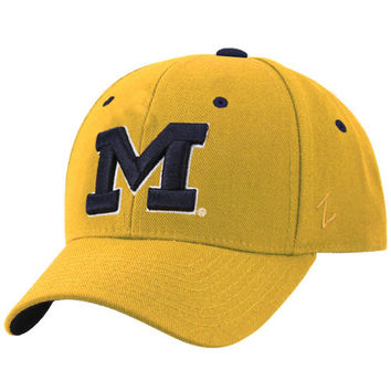 Zephyr Michigan Wolverines Maize Fitted Hat with Navy ''M''