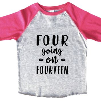 Four Going On Fourteen BOYS OR GIRLS BASEBALL 3/4 SLEEVE RAGLAN - VERY SOFT TRENDY SHIRT B978