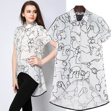 White Poodle Print Asymmetrical Collared Blouse
