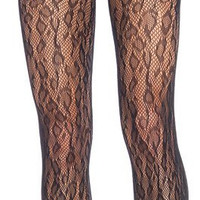 Black Fishnet Leopard Print Tights