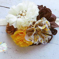 Fancy Autumn Headband, Baby Girl Flower Bows, Infant Headbands, Fall Headband Photo Prop, Yellow Brown Cream Hair Clip, Floral Newborn Bows