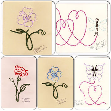 Cards Hand Made Blank Embroidered-Choose 4-Gift Greeting Note Thank-you Valentines Day Card w- Envelopes -Many Options