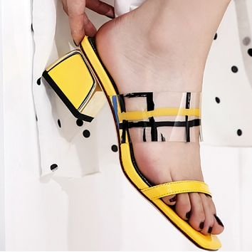 The new style is a hit with a patchwork peep-toe with all kinds of thick sandals shoes