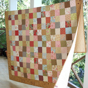Double Bed Quilt - Long Twin Quilt - Patchwork Quilt - Shabby Country Chic - Floral Bed Quilt - Bedding - Heirloom Quilt - Wedding Gift