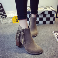 British Tassel Zipper Short Martin Boots