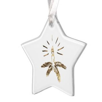 Merry Christmas Gold Look Candle Holder Elegant Ornament