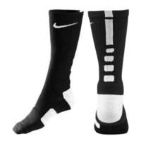 Youth Nike Elite Basketball Crew Socks -Black/White