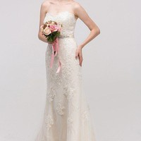 Strapless Lace sheath wedding dress 39-6501