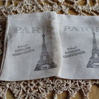 Set of 10 Hand stamped French Paris Eiffel Tower Party Muslin Gift Favor Bags100% organic made in america
