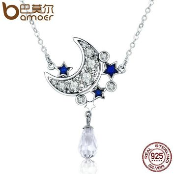 Moon Necklaces 925 Sterling Silver Crescent Moon & Star Shimmering Crystal Pendant
