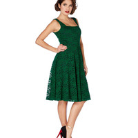 Voodoo Vixen Green Lace Flare Dress