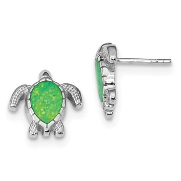 925 Sterling Silver Rhodium-plated Green Created Opal Turtle Post Earrings