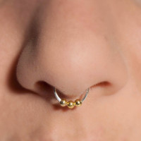 Reverse 3 Ball Septum Nose Cuff © - gold / silver (fake nose ring)